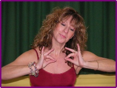 Sarah-Jane - creator of Fantari demonstrates an asana pose